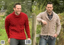3602 Knitting Pattern Aran - Mens 38