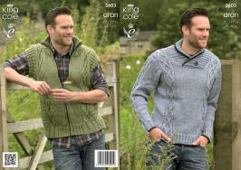 3603 Knitting Pattern Aran - Mens 38