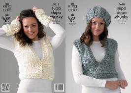 3618 Knitting Pattern Ladies - Supa Dupa Chunky 32