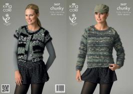3637 Chunky Knitting Pattern - Womens 28/30