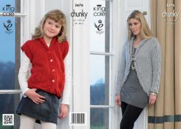 3676 Knitting Pattern Chunky - Girls & Ladies 24 - 46