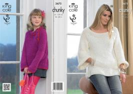 3675 Knitting Pattern Chunky  - Girls & Ladies 24 - 46