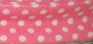 Bias Binding Rose Pink with White Spots 32 - 20mm Wide