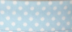 Bias Binding Blue with White Spots 15 - 20mm Wide