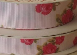 25mm Floral Grosgrain Ribbon - BTB017 White 029