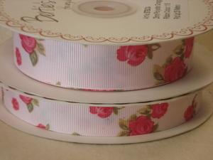 16mm Floral Grosgrain Ribbon - BTB017 White 029