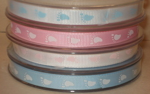 9mm Baby Footprint Grosgrain Ribbon - Pink with White SR1201/02