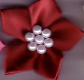 Ribbon Flower with Pearls - Wine