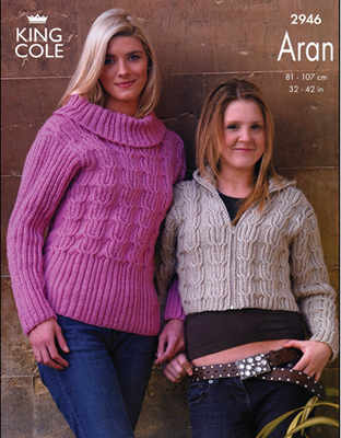 2946 Aran - Knitting Pattern Girls and Ladies*