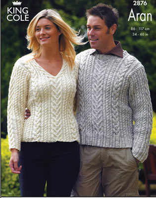 2876 Knitting Pattern - Aran Mens & Womens*