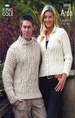 2874 Aran - Knitting Pattern Mens & Womens