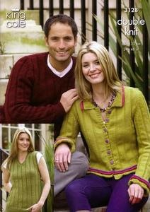3128 Knitting Pattern - Men's and Ladie's Double Knit*