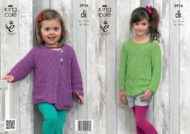 3916 Knitting Pattern - Girls DK 20