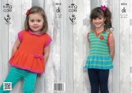 3915 Knitting Pattern - Girls DK 20