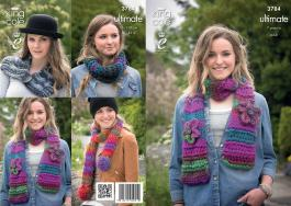3784 Knitting Pattern in Ultimate - Scarves, Snood & Collar 7 years-Adult*