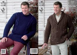 3820 Knitting Pattern Super Chunky - Mens 36 - 50