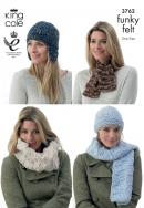 3762 Knitting Pattern Funky Felt - Hats & Scarfs (one size)*