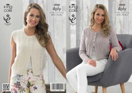 3920 Knitting Pattern - Ladies 4 ply 28/30 -44/46