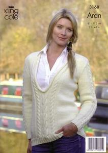"3168 Knitting Pattern - Aran  - Adult 32"" - 44""*"