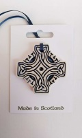 Celtic Cross Blue Ceramic Decoration
