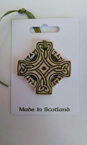 Celtic Cross Green Ceramic Decoration
