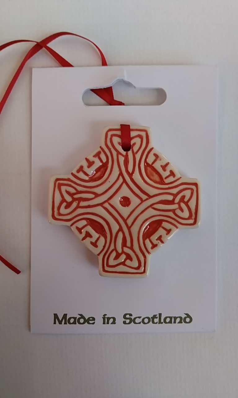 Celtic Cross Red Ceramic Decoration