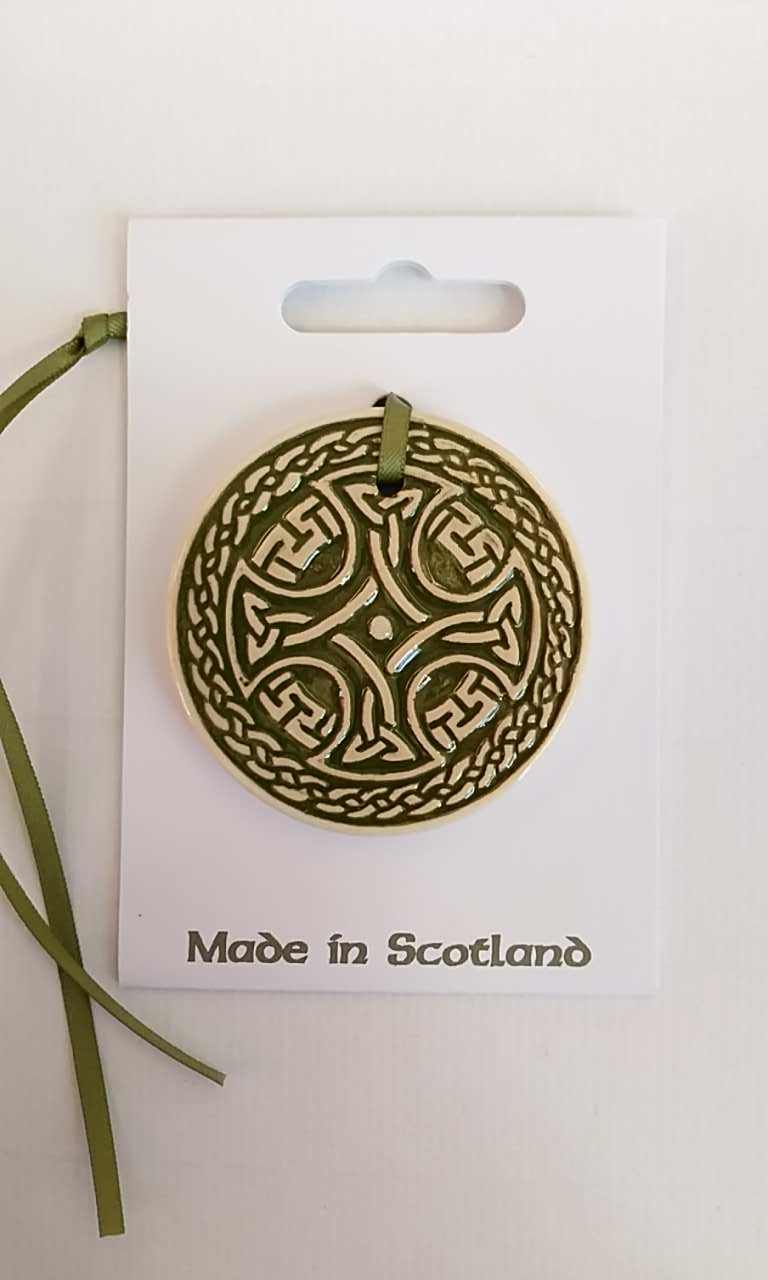 Celtic Round Green Ceramic Decoration