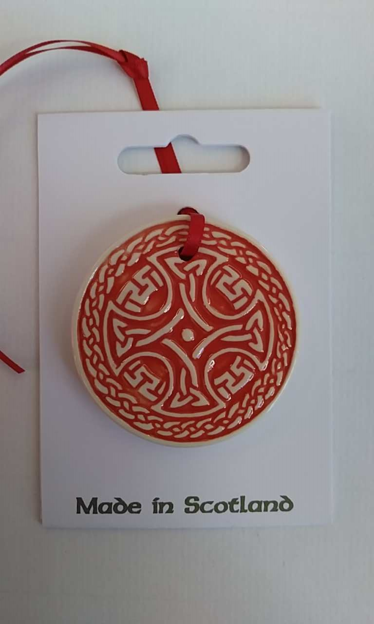 Celtic Round Red Ceramic Decoration