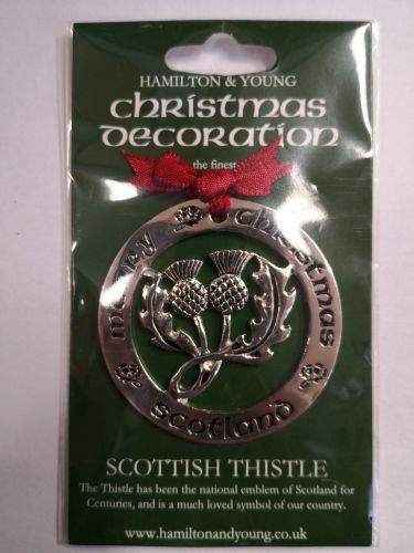 Scottish Thistle Silver Decoration
