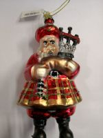 Large Glass Santa Playing the Bagpipes