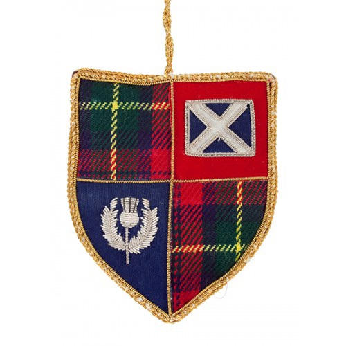 New Tartan Shield with Saltire and Thistle Christmas Decoration