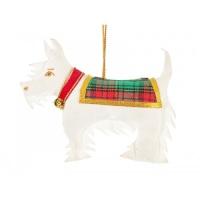 New White Scottie Dog Christmas Ornament