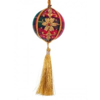 Small Tartan Ball with Tassel Christmas Ornament