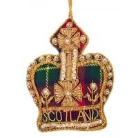 Tartan Crown with Scotland Christmas Tree Decoration