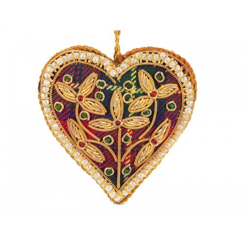 Tartan Heart with 3 Flowers Christmas Decoration