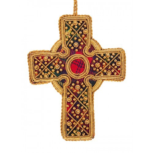 Tartan Celtic Cross Christmas Decoration