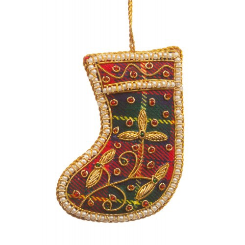 Tartan Boot with Pearl Border Christmas Decoration