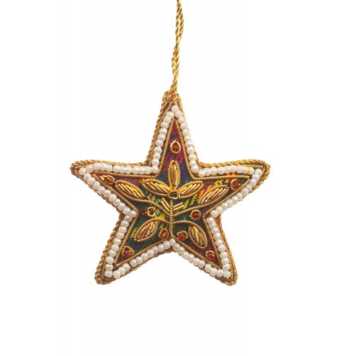 Mini Tartan Star with Pearl Border Christmas Decoration