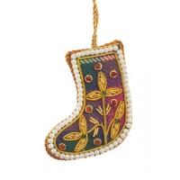 Mini Tartan Boot with Pearl Border Christmas Decoration