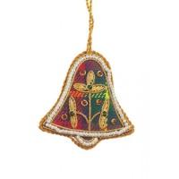 Mini Tartan Bell with Pearl Border Christmas Decoration
