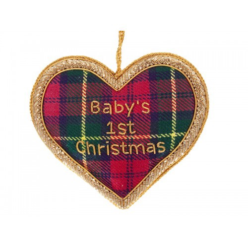 Tartan Baby's 1st Christmas Heart Decoration