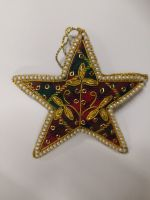Tartan Star with Pearl Border Christmas Decoration