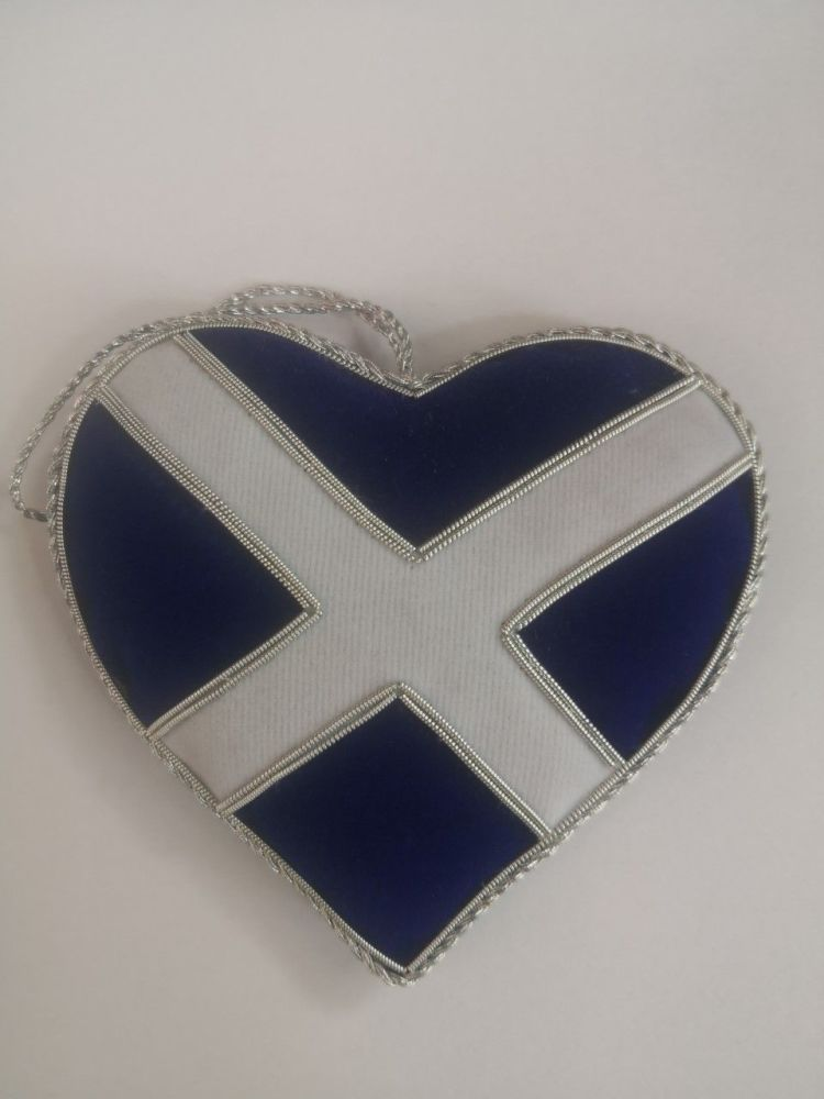 Scottish Flag Heart Christmas Ornament