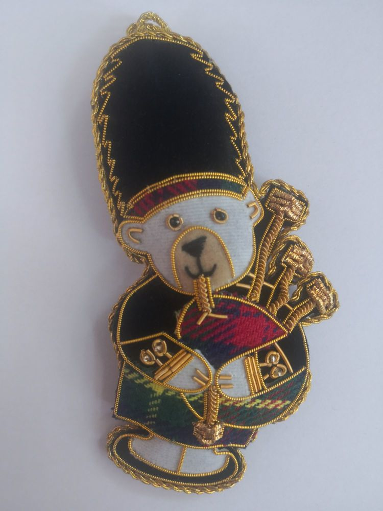 Scottish Piper Bear Christmas Decoration