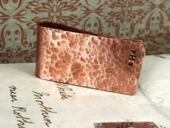 Hammered Texture Copper Money Clip