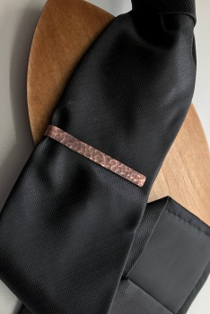 Textured Copper Tie Clip 6cm Length with Distressed Finish