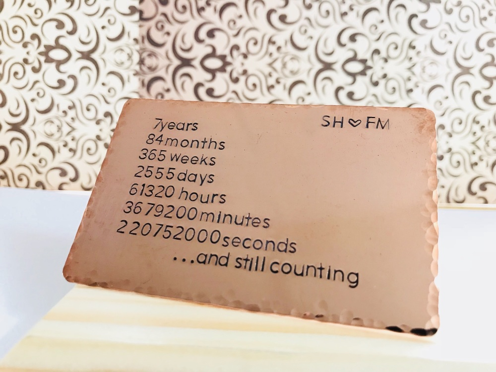 7th Wedding Anniversary.Copper Wallet Insert 7th Anniversary Gift