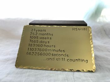 Brass Wallet Insert 21st Wedding Anniversary Gift