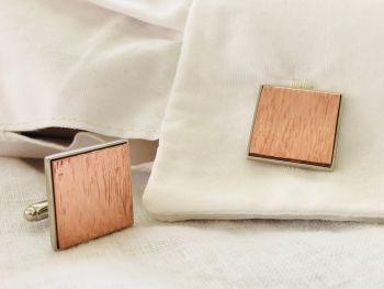 Copper Cufflinks Bark Effect