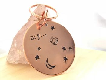 Copper Key ring Sun Moon and Stars